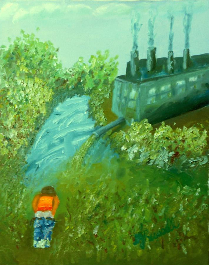River Painting - A Little Boy Peeing In The Willamette River by DJ Russell