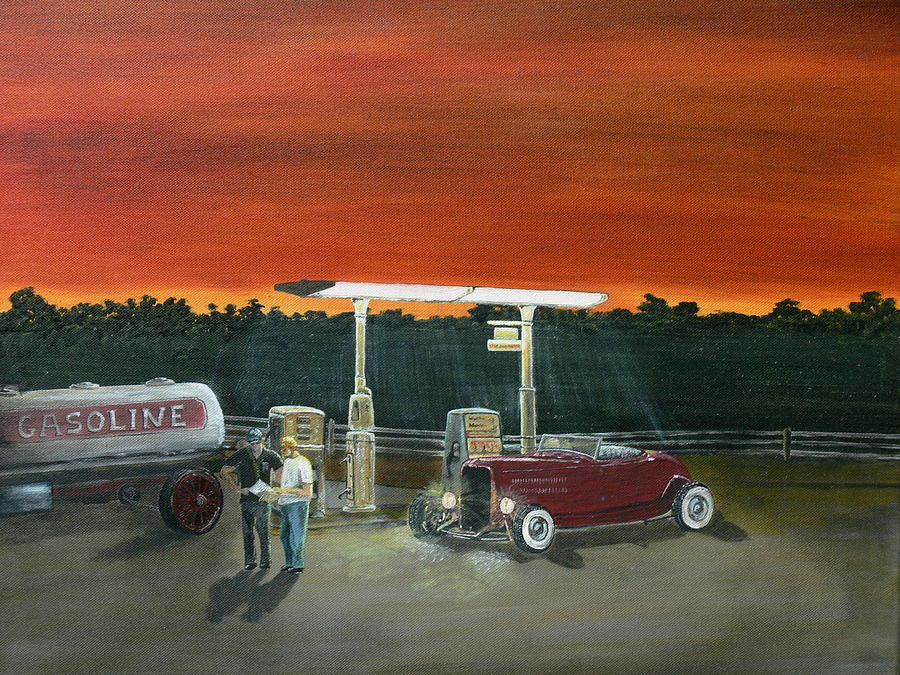A Little Break On The Road... Painting by Chris Lambert