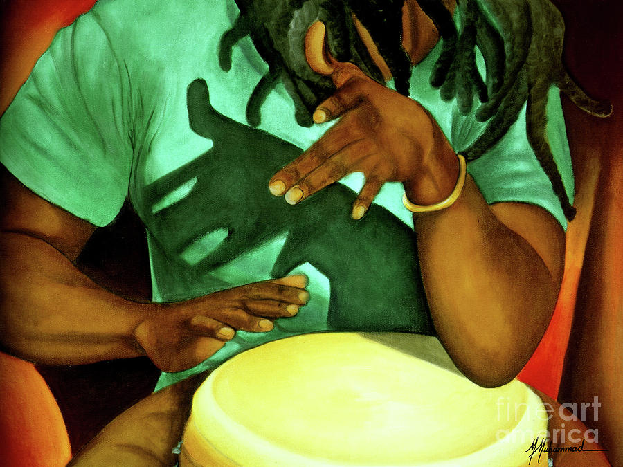 Drum Painting - A Little Island Beat by Marcella Muhammad