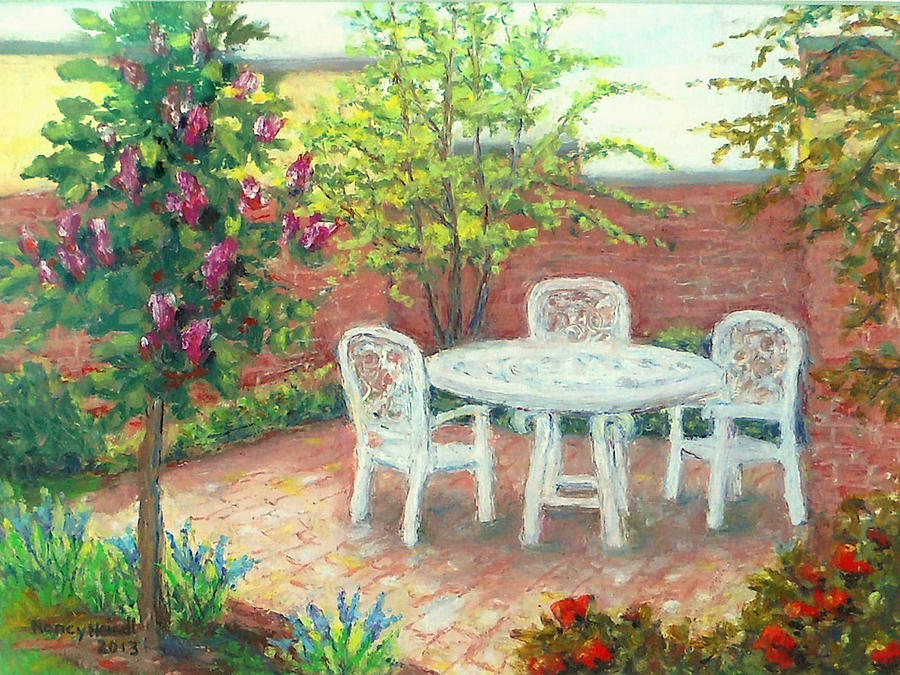 Spring Landscape Painting - A Little Spring Patio  by Nancy Heindl