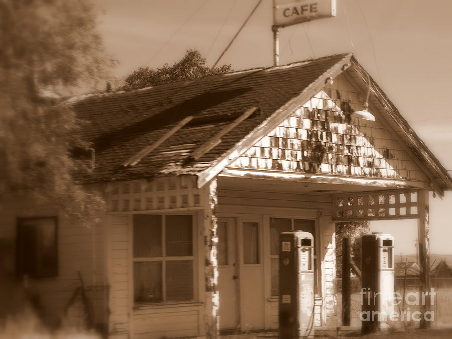 Old Building Photograph - A Little Weathered Gas Station by Carol Groenen