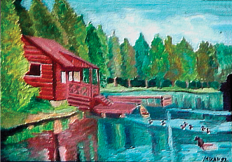 A log cabin on the river painting by zoran mikan for Log cabin painting
