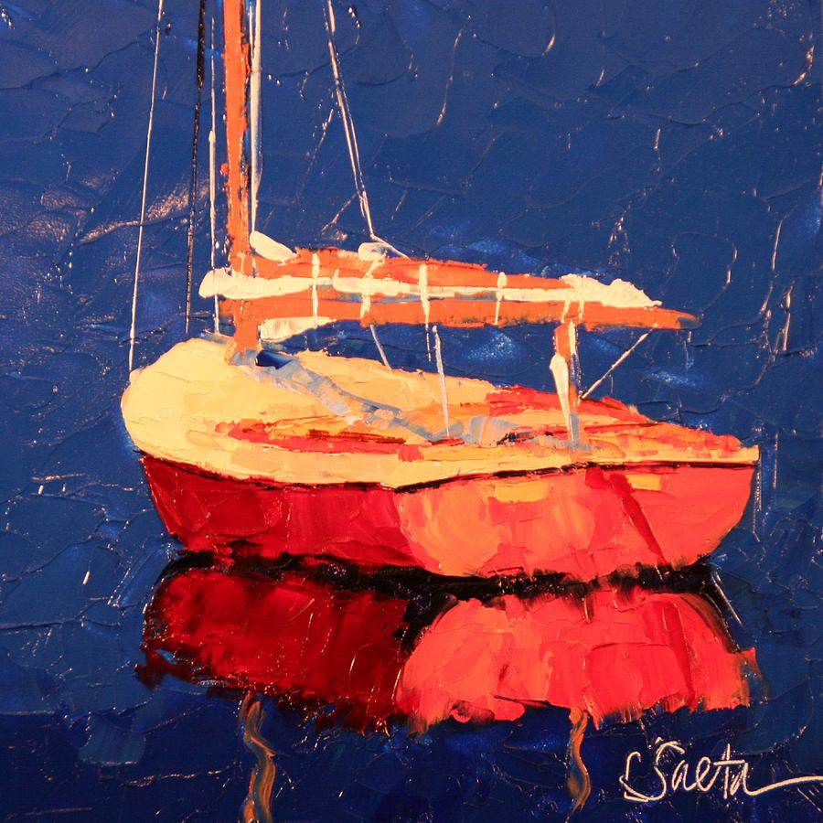 Boat Painting - A Long Day by Leslie Saeta