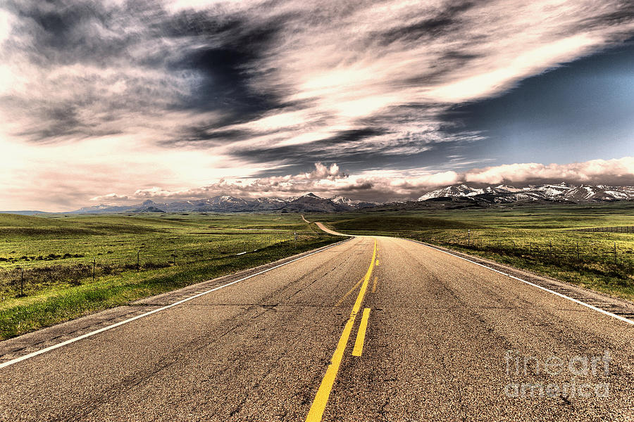 Road Photograph - A Long Road To The Mountains by Jeff Swan