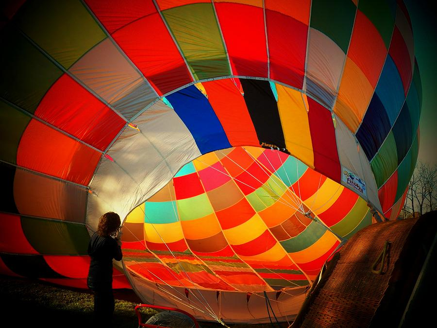 Hot Air Balloon Photograph - A Look Inside by Joyce Kimble Smith