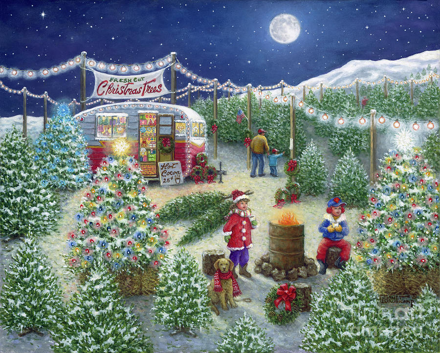christmas painting a lot of christmas trees christmas tree lot by janet kruskamp