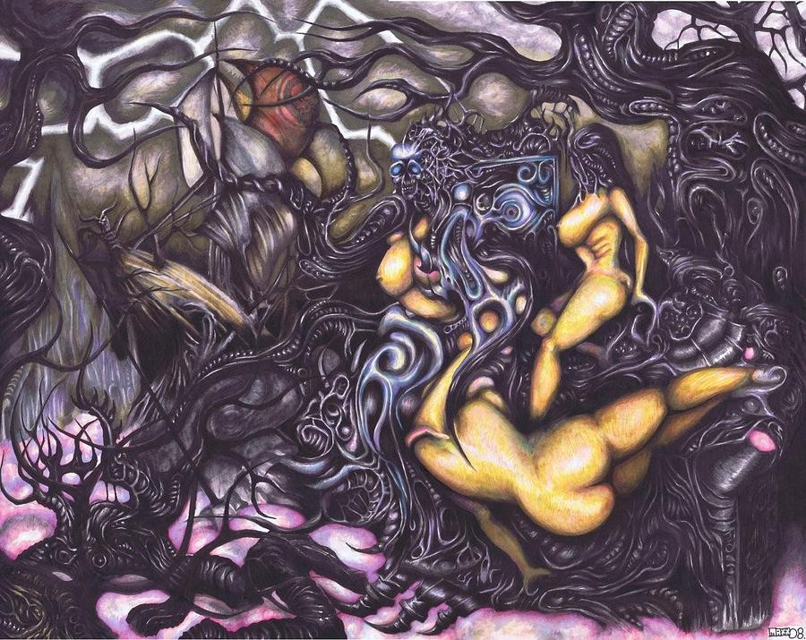 Surreal Drawing - A Lustful War-plague by Maxx Kim