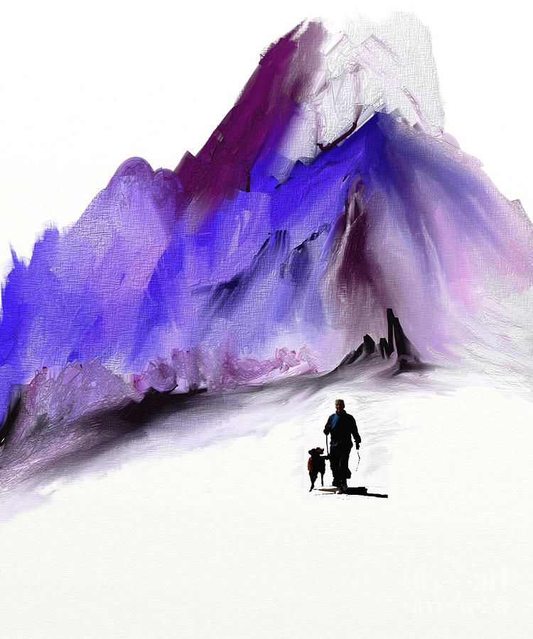Mountains Painting - A Man And His Dog by Jo Baby