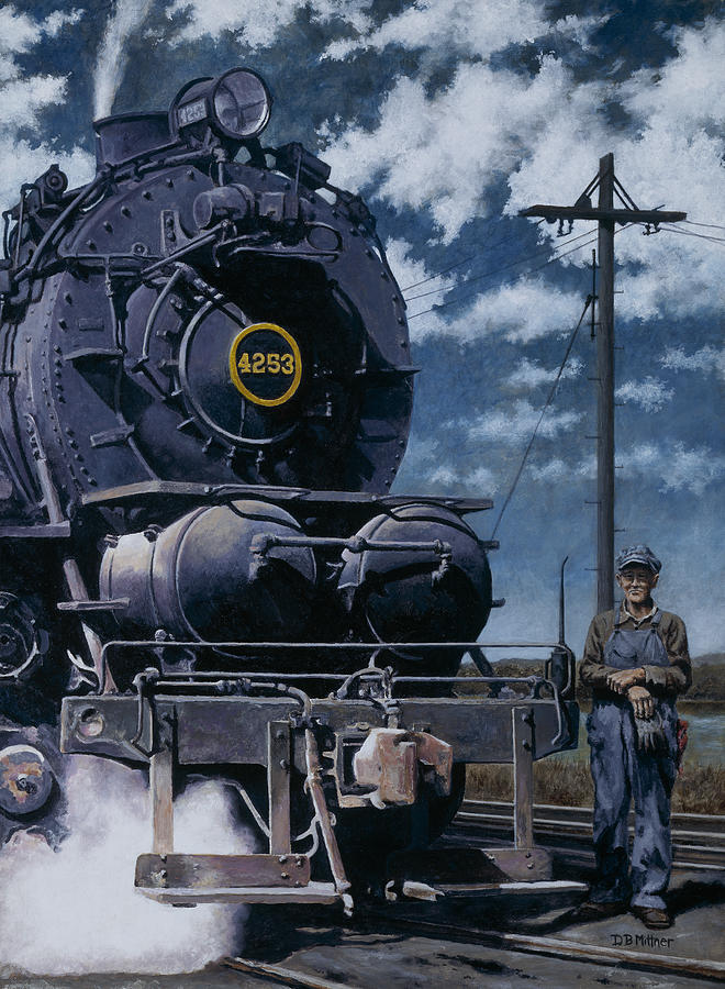 Trains Painting - A Man And His Machine by David Mittner