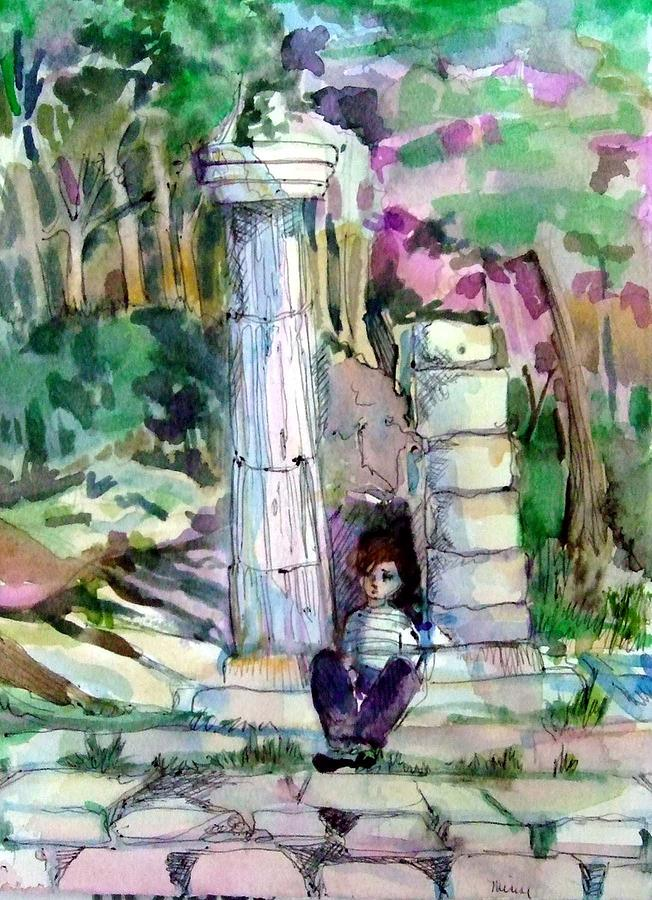 Watercolor Painting - A Man In Ruins by Mindy Newman