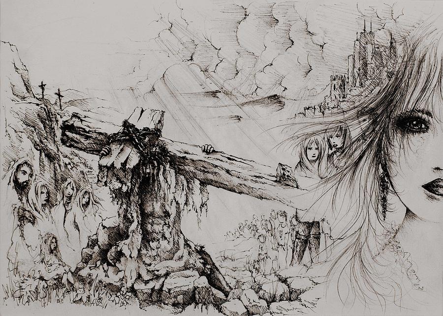 Isaiah 53 Drawing - A Man Of Sorrows by Rachel Christine Nowicki