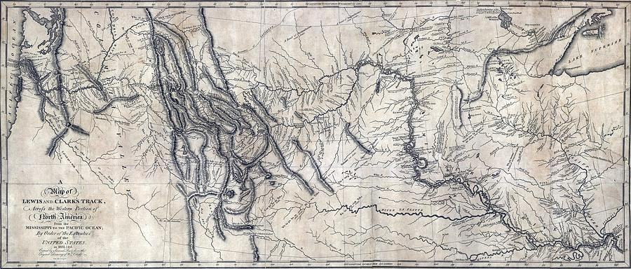 History Photograph - A Map Of Lewis And Clarks Track by Everett