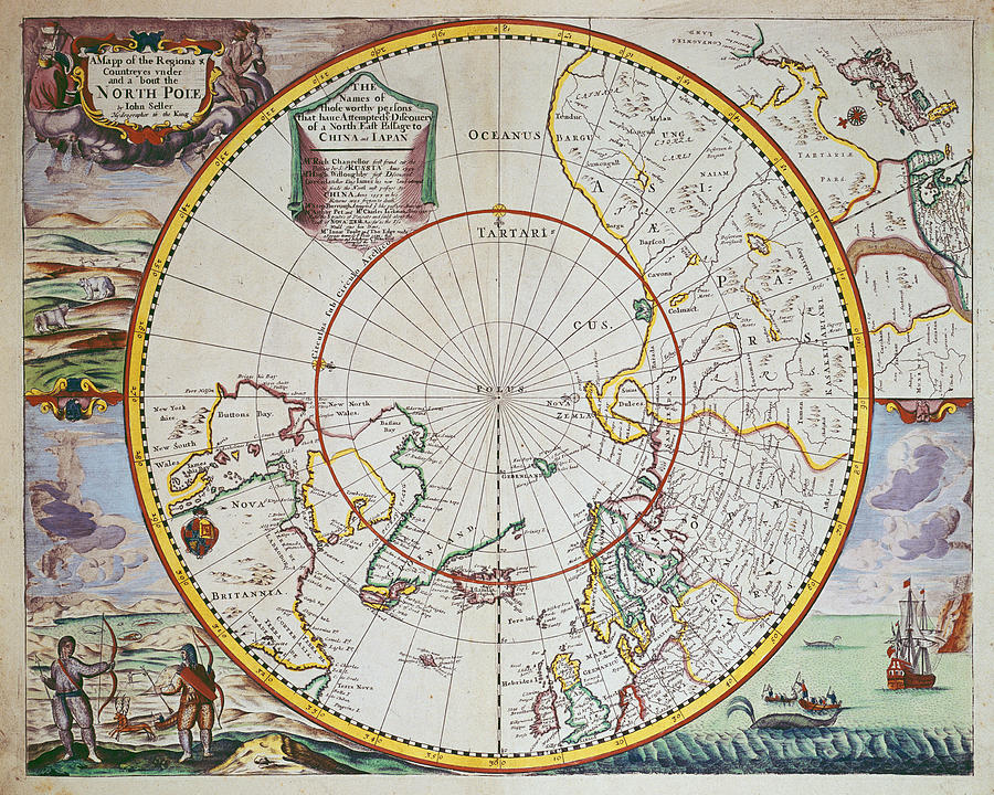 Map Drawing - A Map Of The North Pole by John Seller
