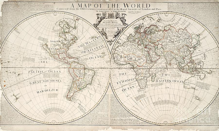 Map Painting - A Map of the World by John Senex
