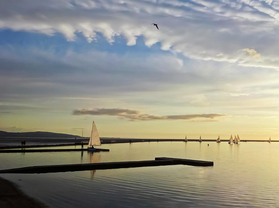 United Photograph - A Marine Lake At Dusk, West Kirby by Derrick Neill