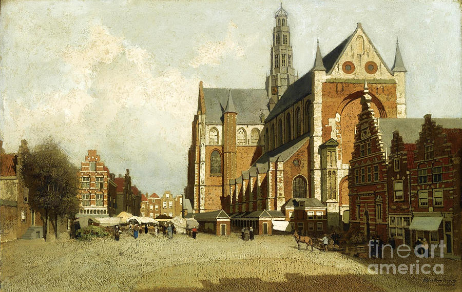 Animals Painting - A Market By The St. Bavo Church by Celestial Images