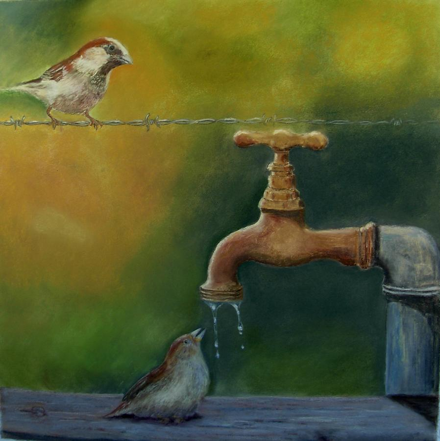 Birds Painting - A Matter Of Watter by Ceci Watson