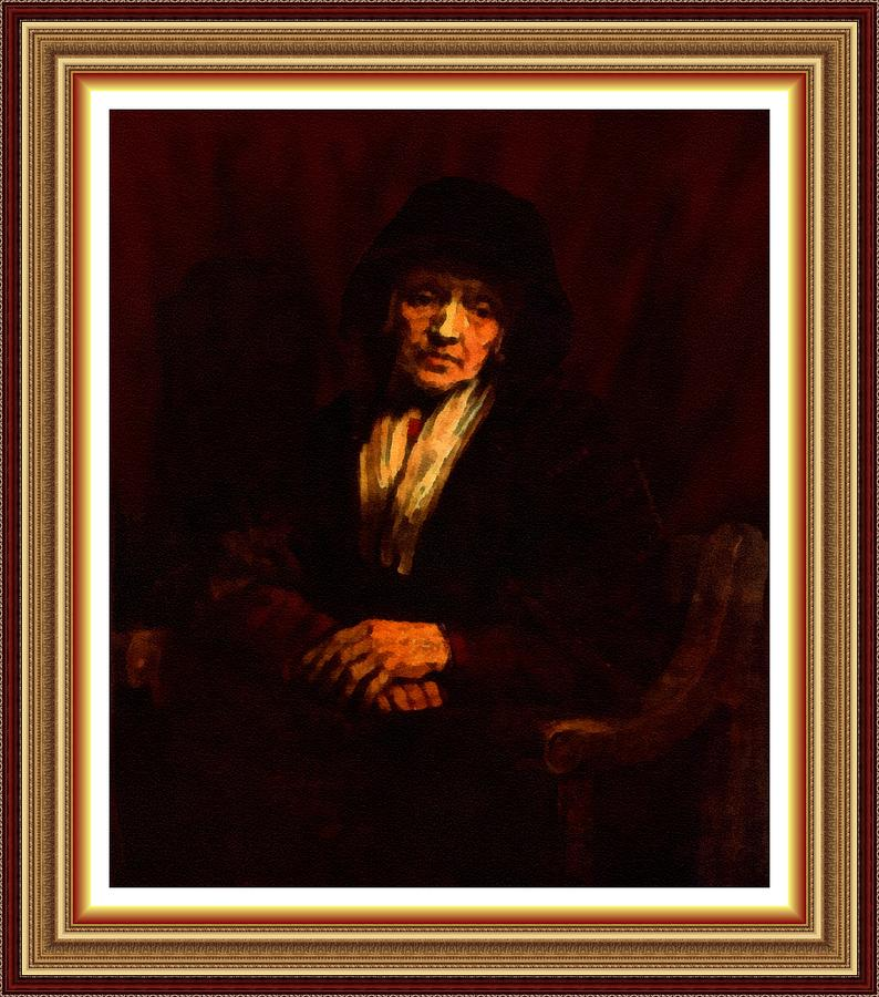 A Meditating Old Woman - Inspired By Rembrandt L B With Decorative Ornate Printed Frame. Painting