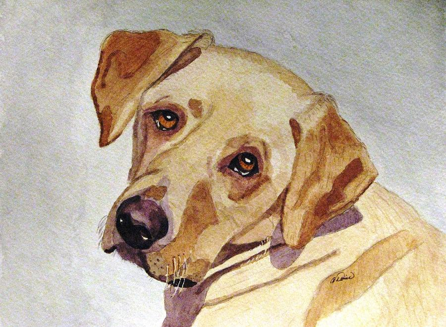 Yellow Lab Painting - A Mellow Yellow by Angela Davies