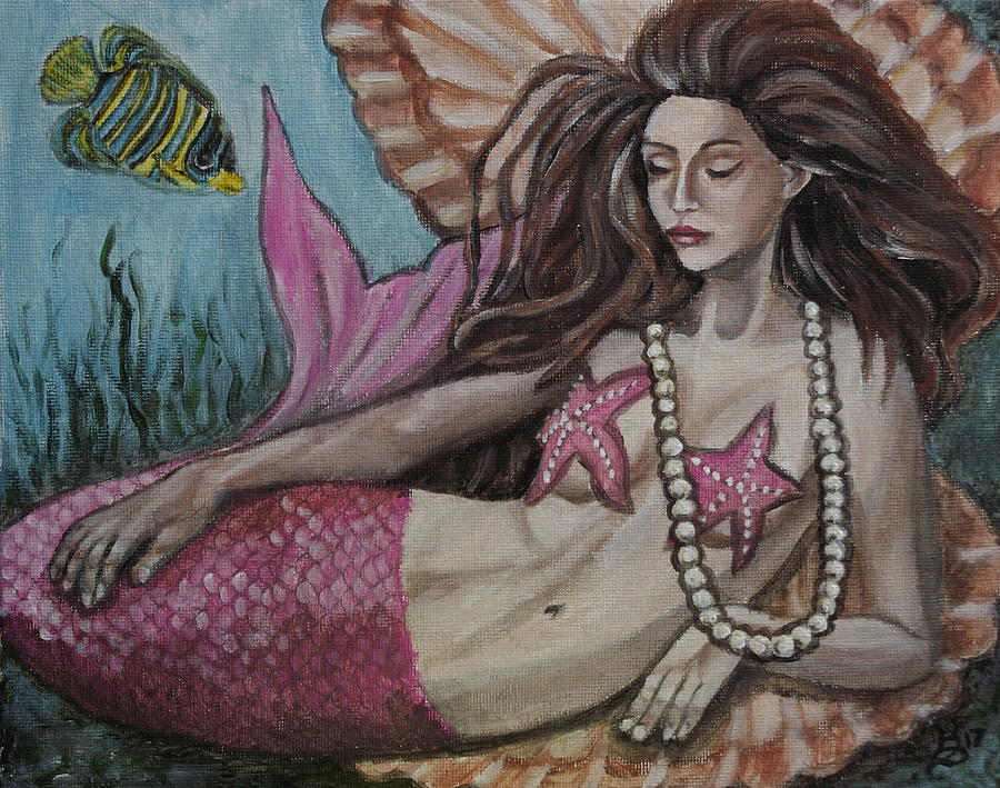 Acrylic Painting - A Mermaid Named Pearl by Kim Selig