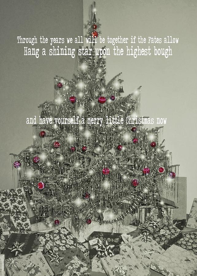 Vintage Photograph - A Merry Little Christmas Quote by JAMART Photography