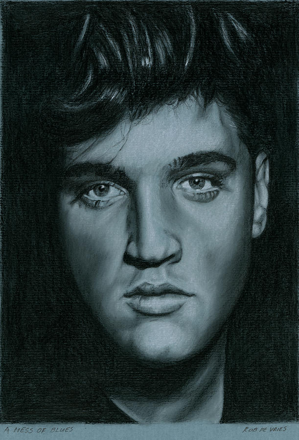 Elvis Drawing - A mess of Blues by Rob De Vries