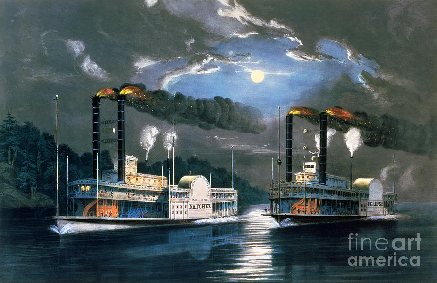 New York Painting - A Midnight Race On The Mississippi by Currier and Ives