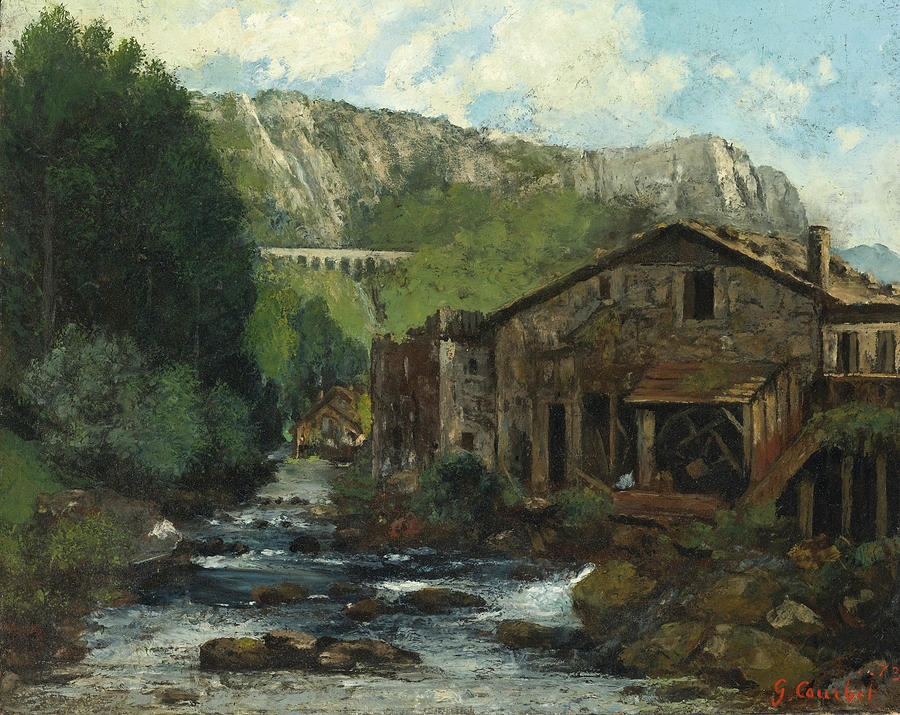 Gustave Courbet Painting - A Mill in a Rocky Landscape by Gustave Courbet