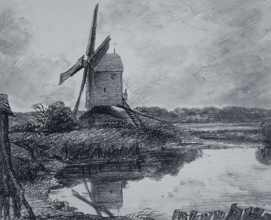 Constable Drawing - A Mill On The Banks Of The River Stour Charcoal On Paper by John Constable