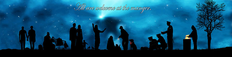 Banner Digital Art - A Modern Nativity Scene.   All Are Welcome At The Manger. by Julie Rodriguez Jones