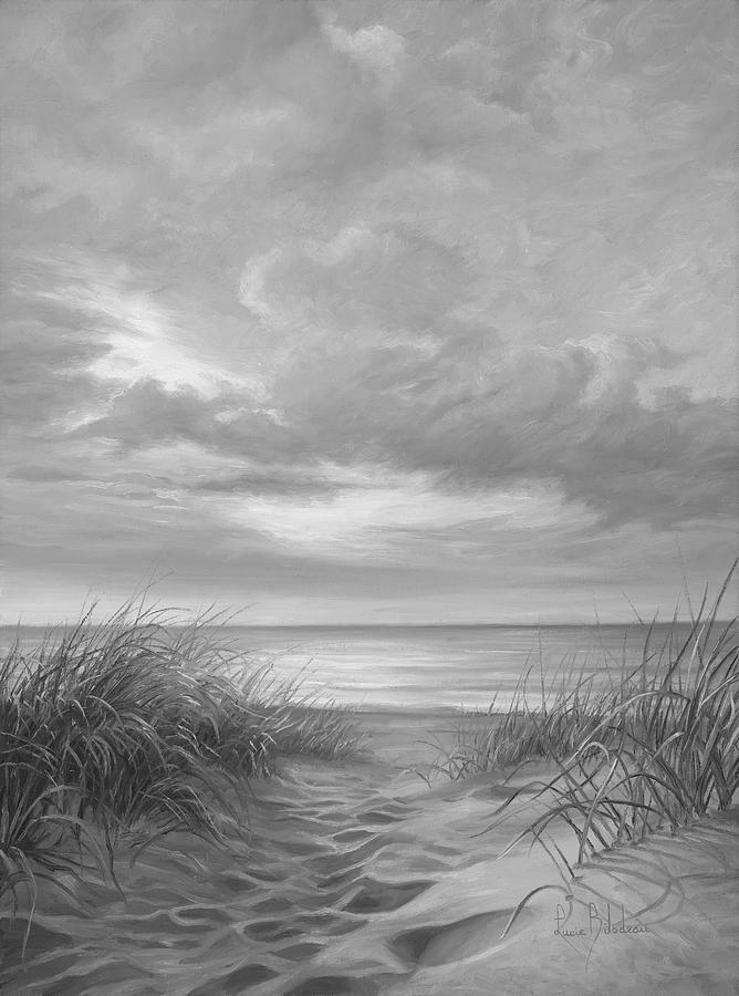 A Moment Of Tranquility Black And White Painting By