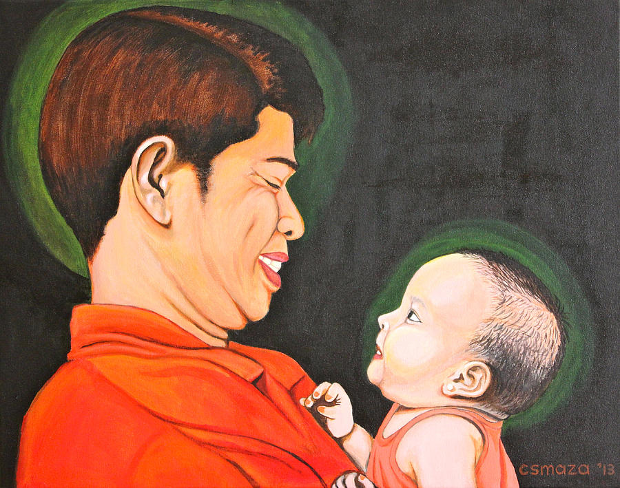 Family Painting - A Moment With Dad by Cyril Maza