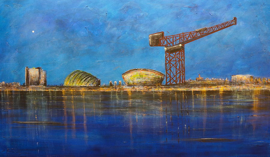 Glasgow Painting - A Moonlit Glasgow Harbour by Kevin Hunter