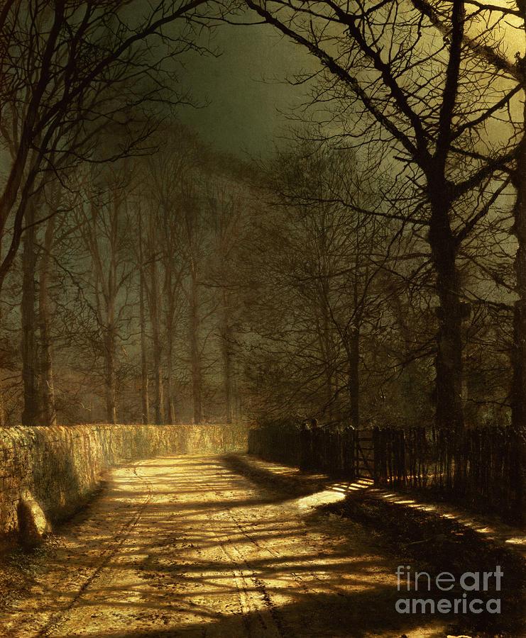 Couple Painting - A Moonlit Lane by John Atkinson Grimshaw