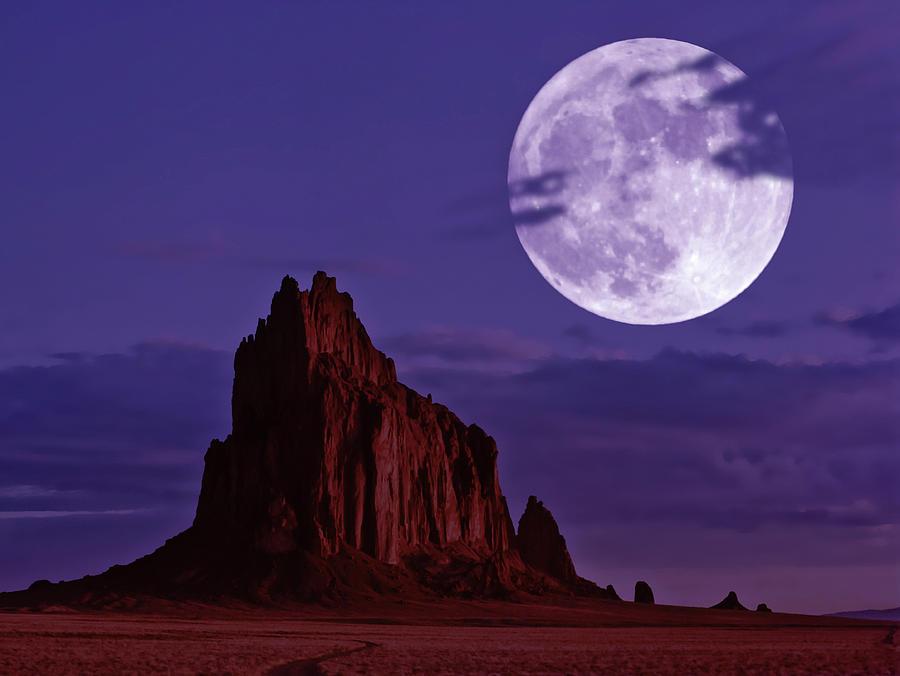 A Moonlit Shiprock, New Mexico, Usa, At Night Digital Art