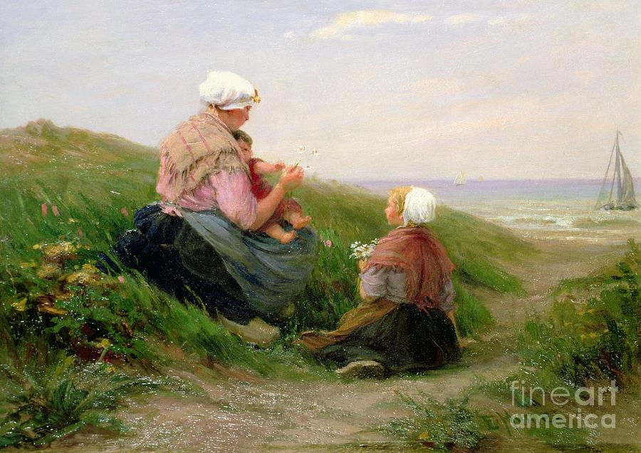Mother Painting - A Mother And Her Small Children by Edith Hume