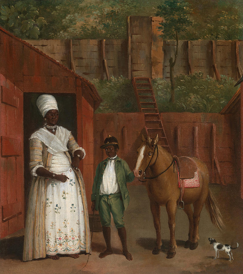 Italian Painters Painting - A Mother With Her Son And A Pony by Agostino Brunias