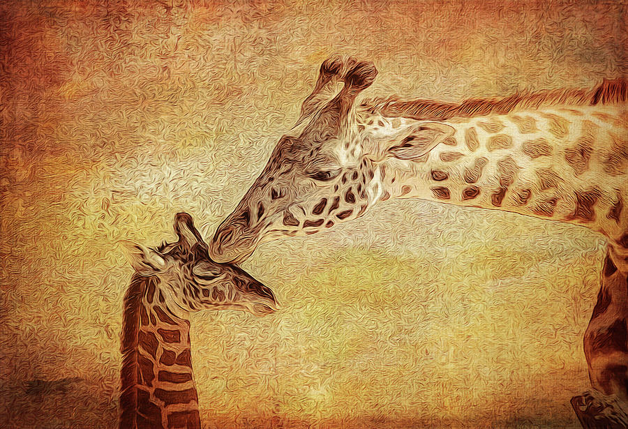 Giraffe Photograph - A Mothers Kiss Painted 2 by Judy Vincent