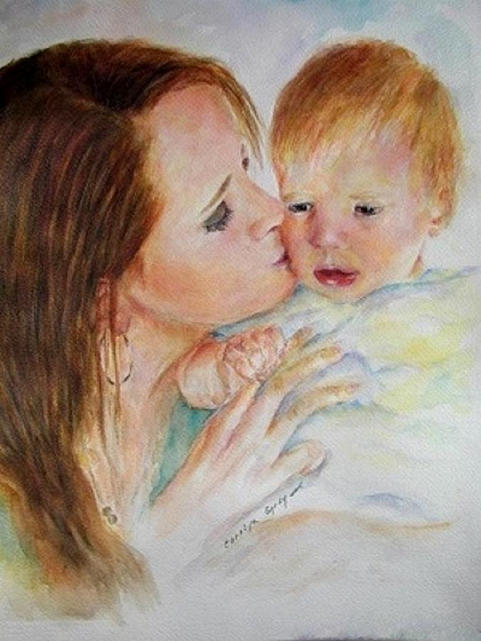 Mother - Child - Portrait - A Mothers Love Painting