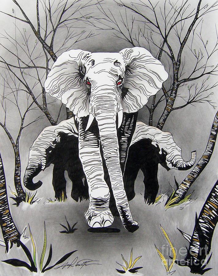 Elephants Drawing - A Mothers Love by Joseph Palotas