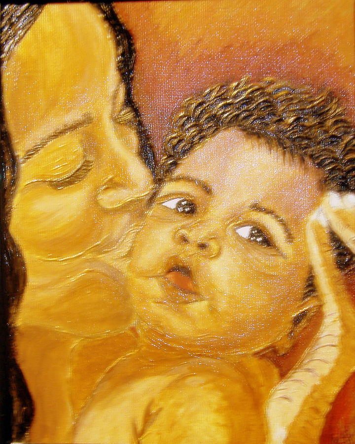Acrylic Painting - A Mothers Love  by Keenya  Woods