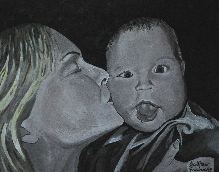Kiss Painting - A Mothers Love by Matthew Fredricey