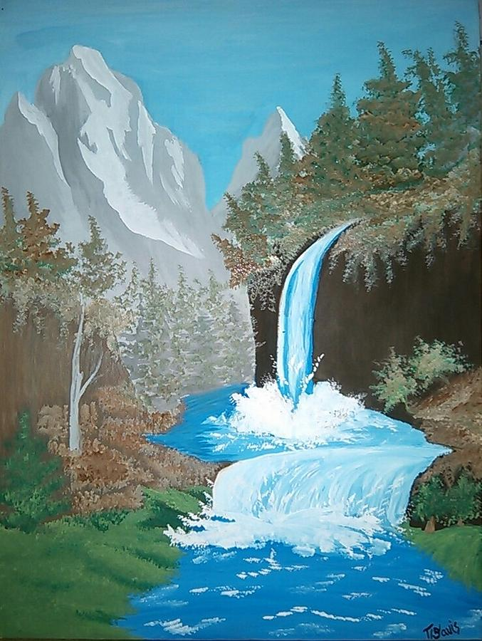 A mountain waterfall painting by terra mims waterfall painting a mountain waterfall by terra mims altavistaventures Images