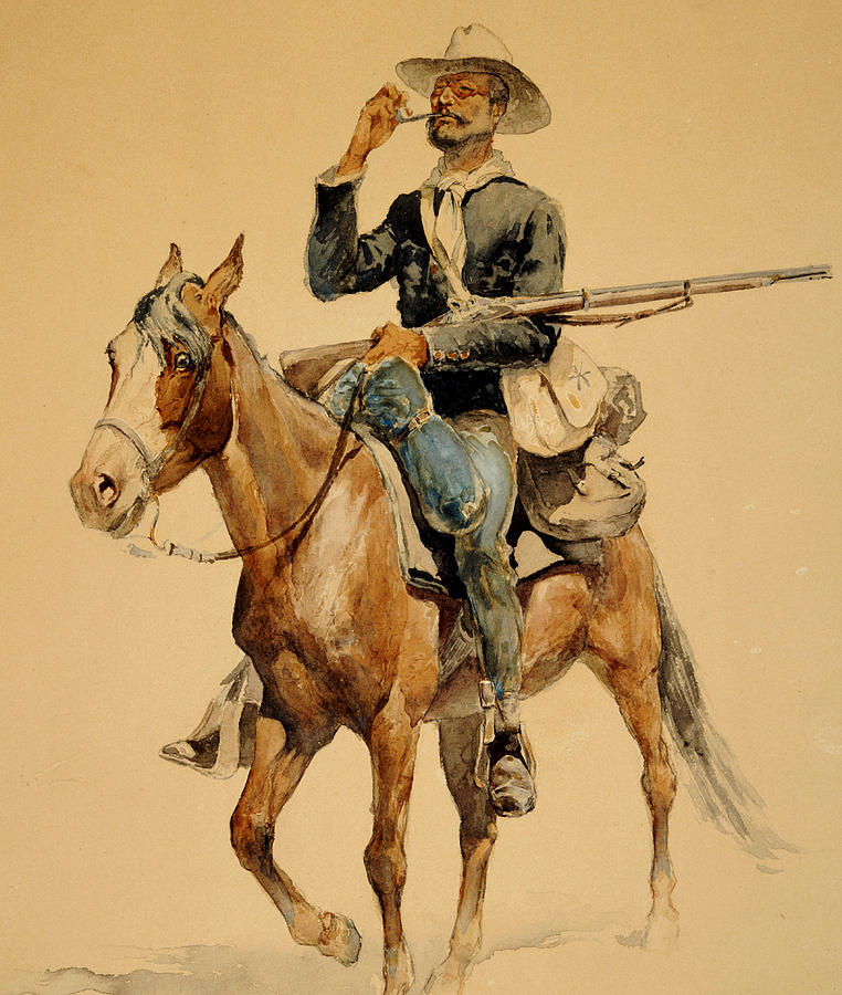 Remington Painting - A Mounted Infantryman by Frederic Remington