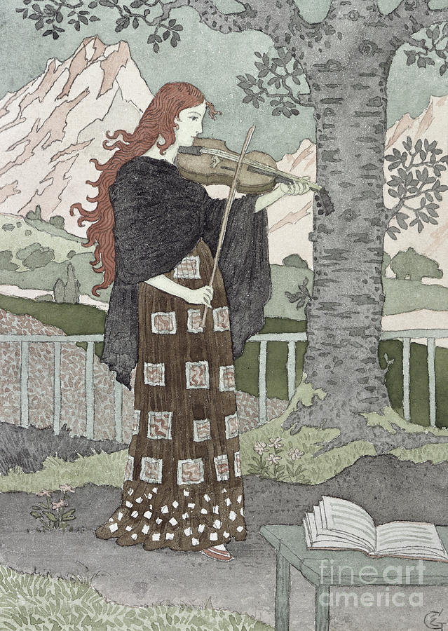 Music Painting - A Musician by Eugene Grasset