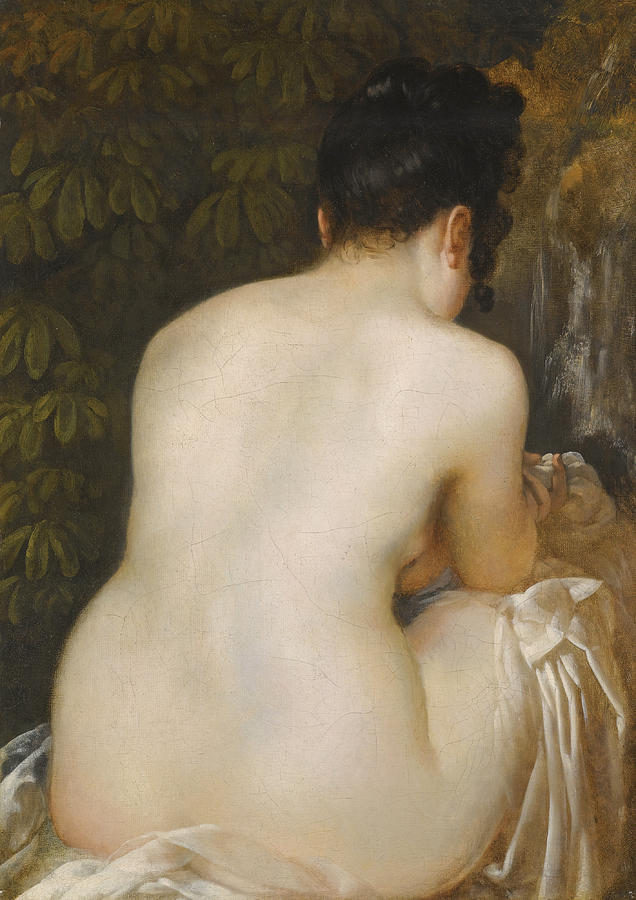 Nude Painting - A Naked Woman Seen From Behind by Italian School
