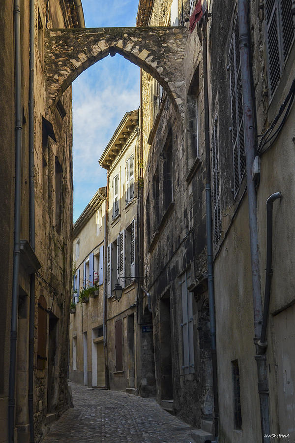 Cityscape Photograph - A Narrow Street in Viviers by Allen Sheffield