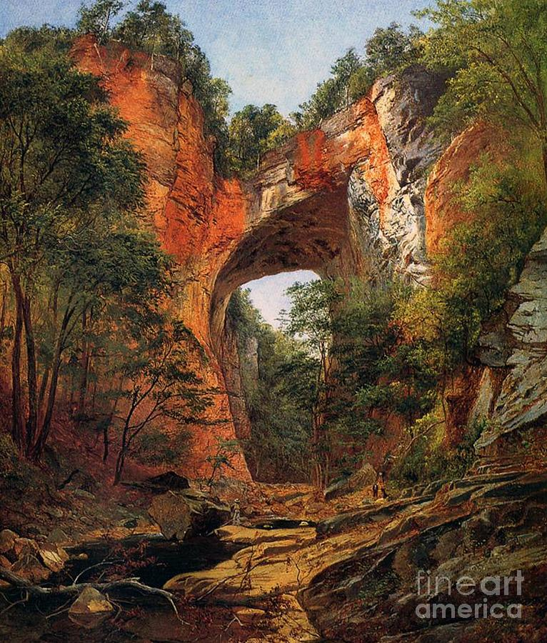 Virginia Painting - A Natural Bridge In Virginia by David Johnson