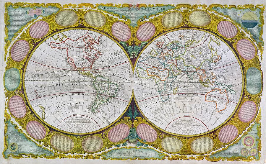 New Painting - A New And Correct Map Of The World by Robert Wilkinson