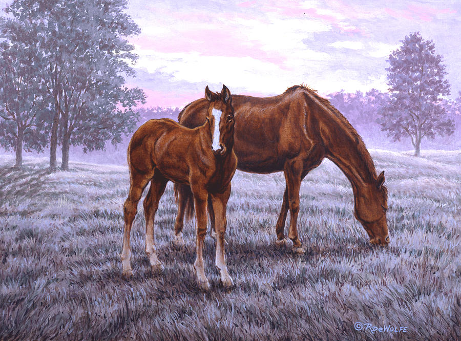 Mare And Foal Painting - A New Day Begins by Richard De Wolfe